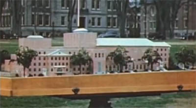 photo of model of proposed Hopkins Center at Dartmouth from 1947 film