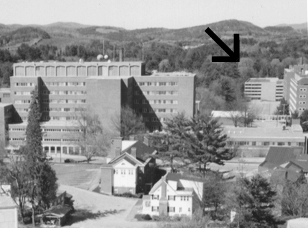 Ca. 1995 view north from Baker Tower showing Dewey Field parking garage, Meacham photo