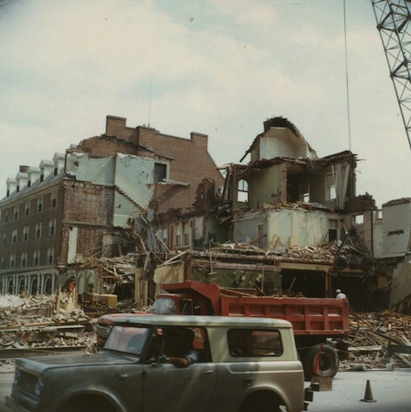 Emil Rueb photo of Inn demolition, from the Flickr photostream of the Town of Hanover, N.H.