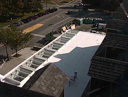 roof of Hayward Room at expanded Hanover Inn