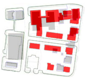 Sargent Block plan layered atop existing conditions