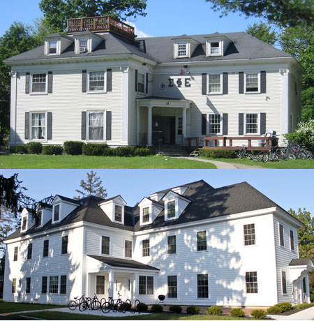 Meacham photo of Sigma Phi Epsilon and The Dartmouth photo of Alpha Phi
