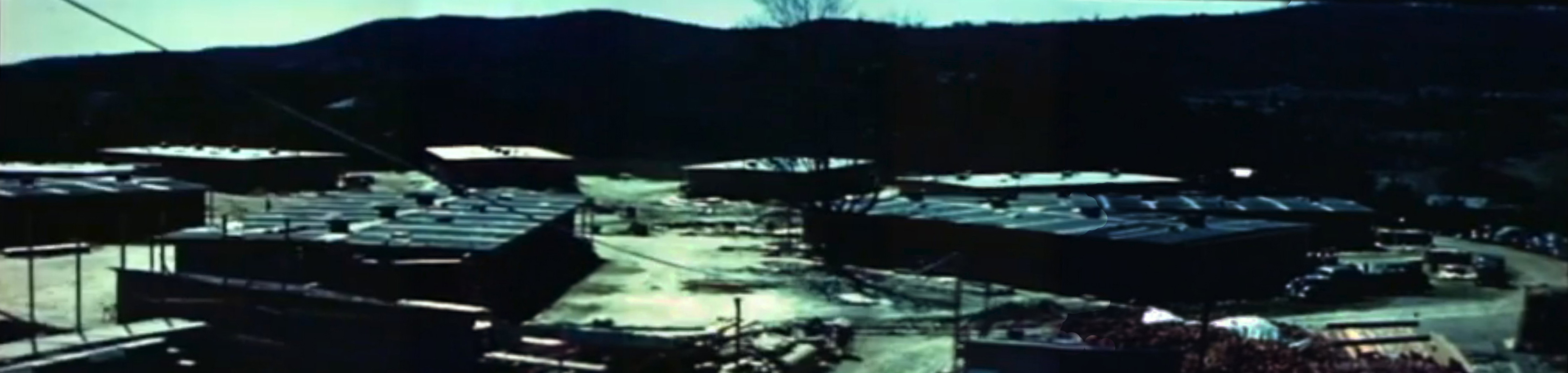 composite of stills from 1946 film showing Wigwam Circle west of Thayer School, Hanover, N.H.