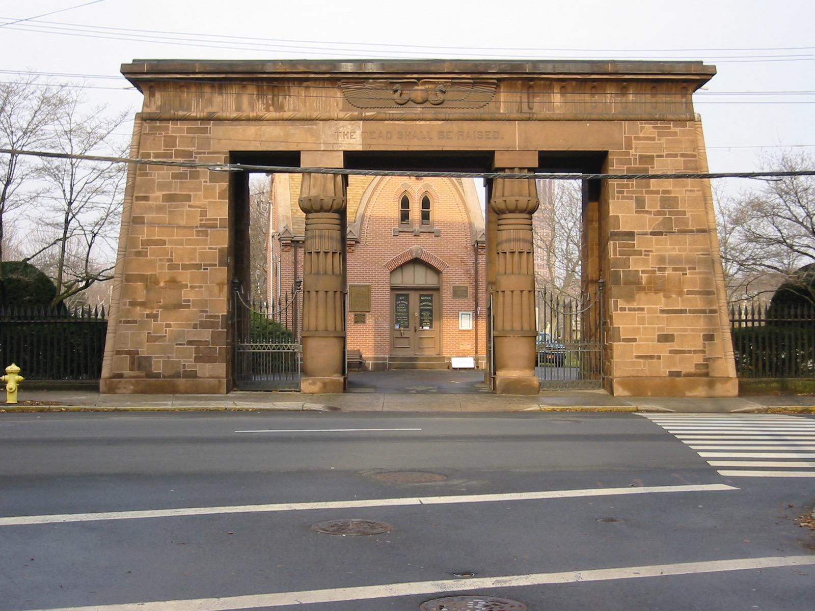 Grove Street Cemetery gate, New Haven, Meacham photo